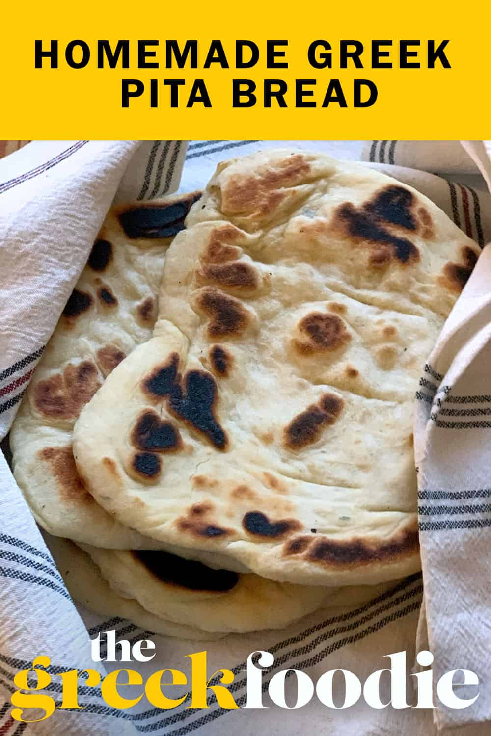 Greek pita bread is an essential ingredient for souvlaki. I love making my own pitas. They come out delicious and they truly are the real thing.