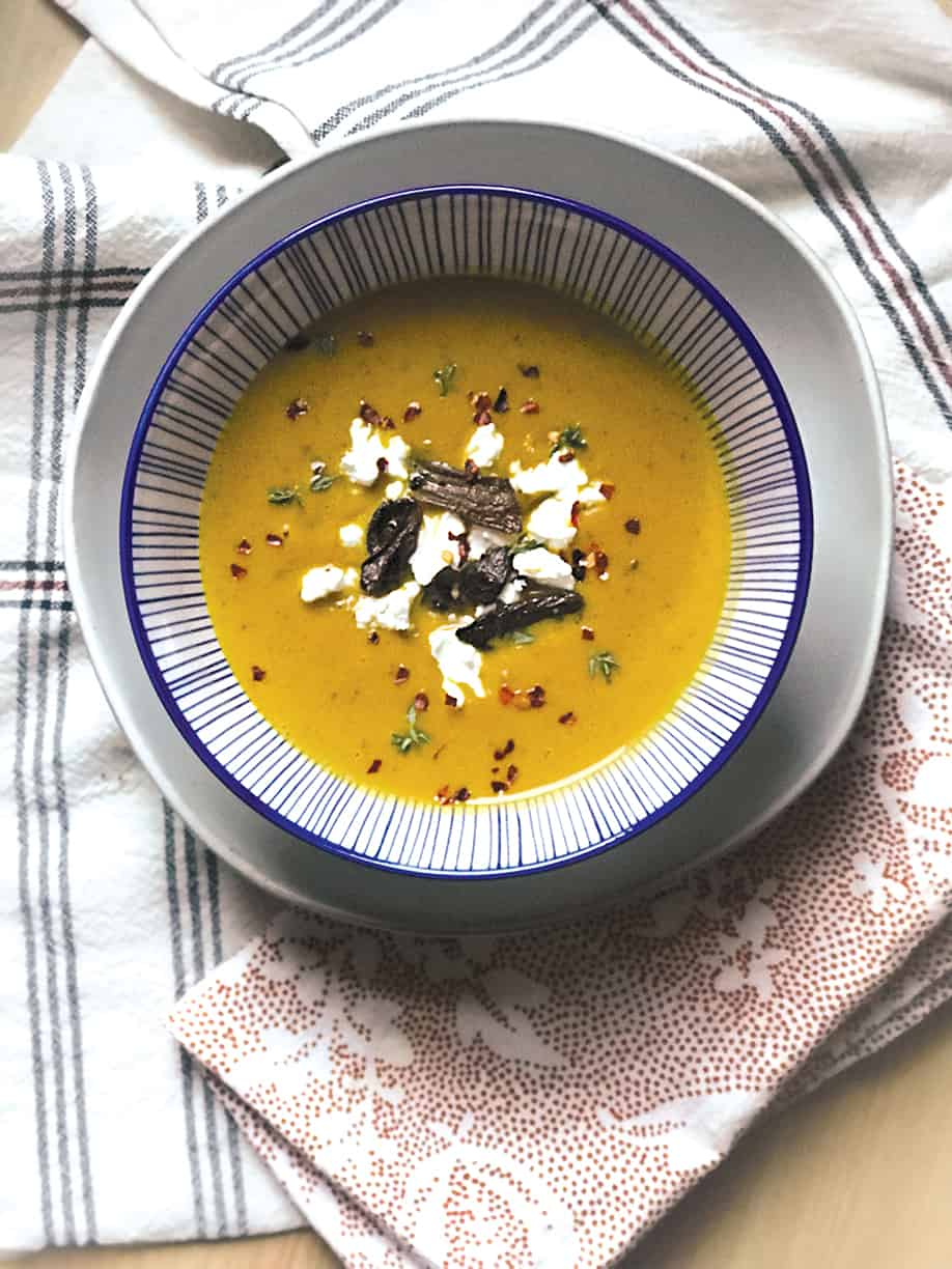 red kabocha squash soup & porcini mushrooms