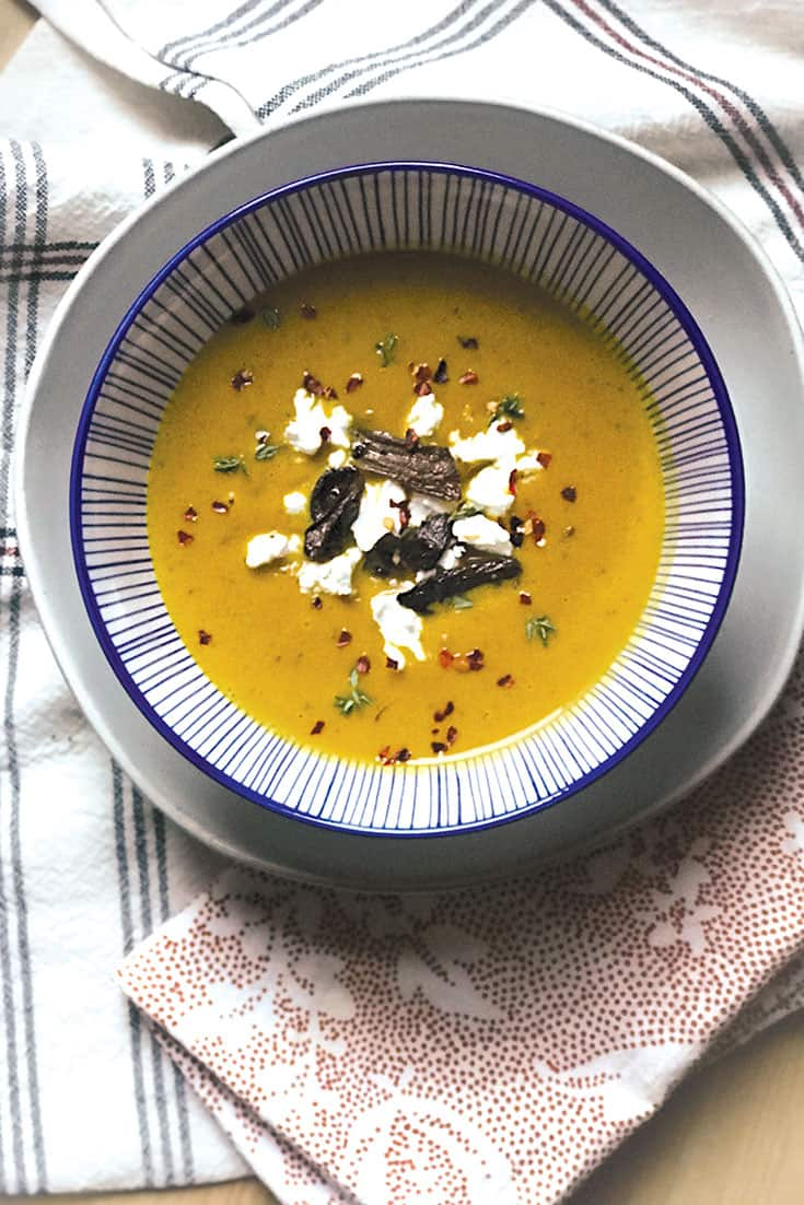 Red kabocha soup with porcini mushrooms