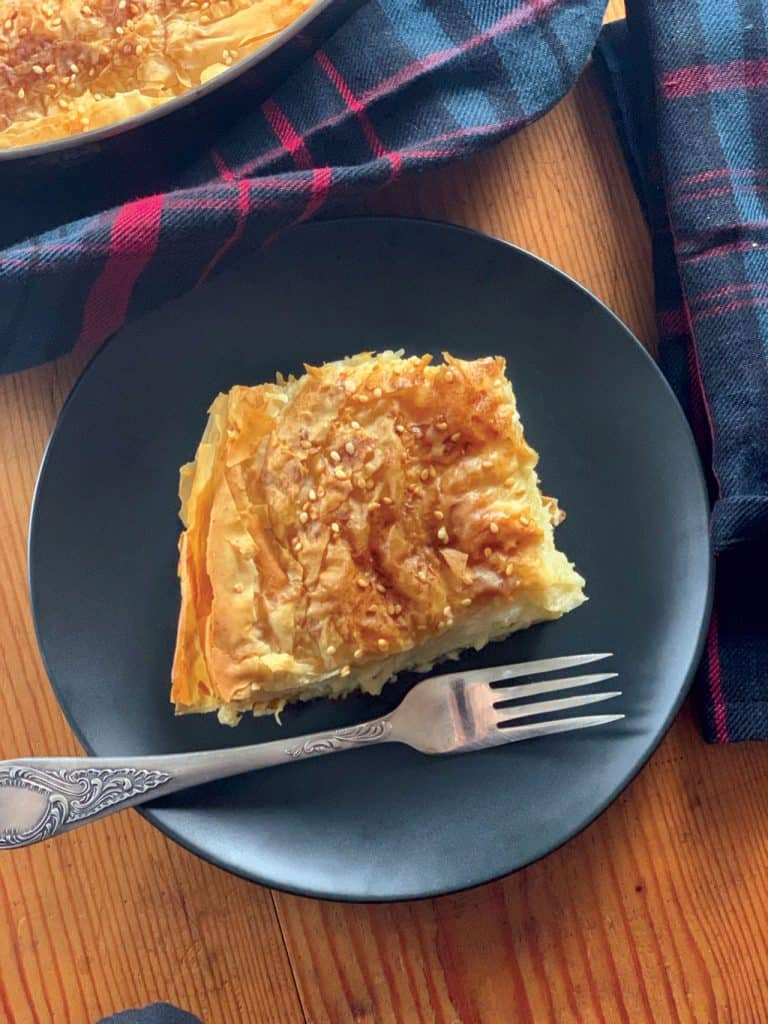 Greek cheese pie with phyllo dough