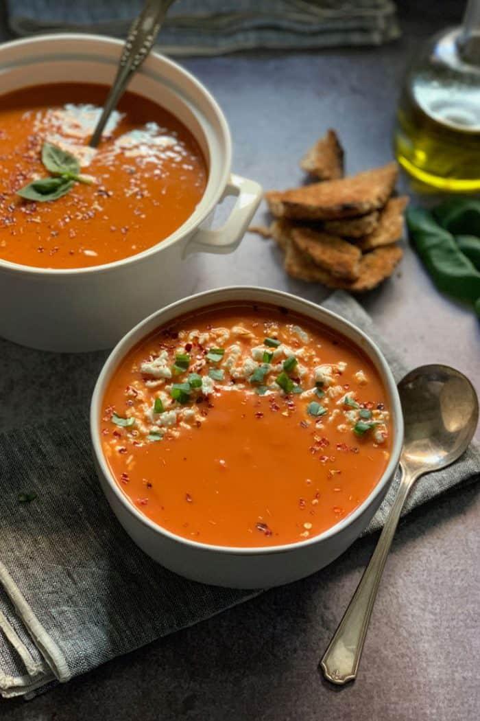 greek tomato soup with feta & basil