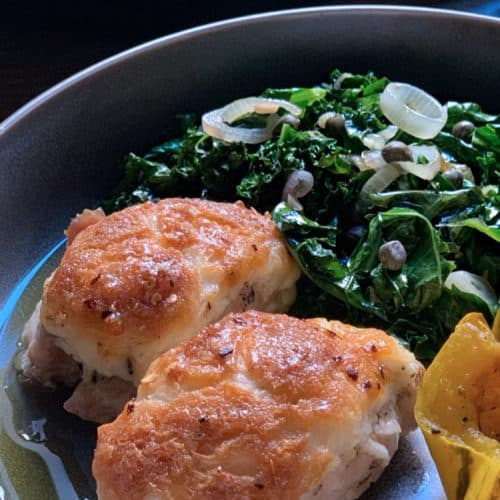 Parmesan chicken with sautéed kale and grilled delicate squash
