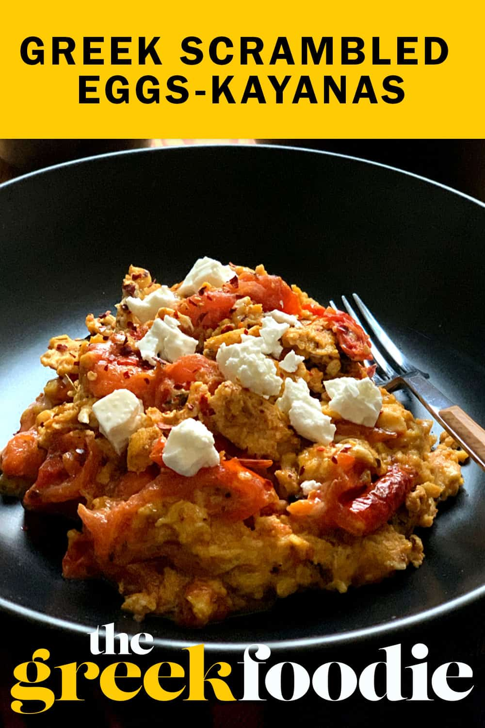 Eggs kayanas or strapatsada as my dad used to call them is one of the easiest Greek recipes packed with flavor and super easy to make. It is the greek version of scrambled eggs. with fresh ripe tomatoes, extra virgin olive oil, eggs and feta on hand.