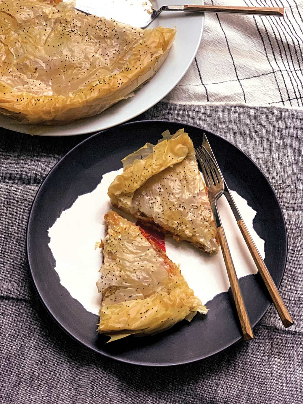 GREEK PIE WITH PASTOURMA AND KASSERI CHEESE