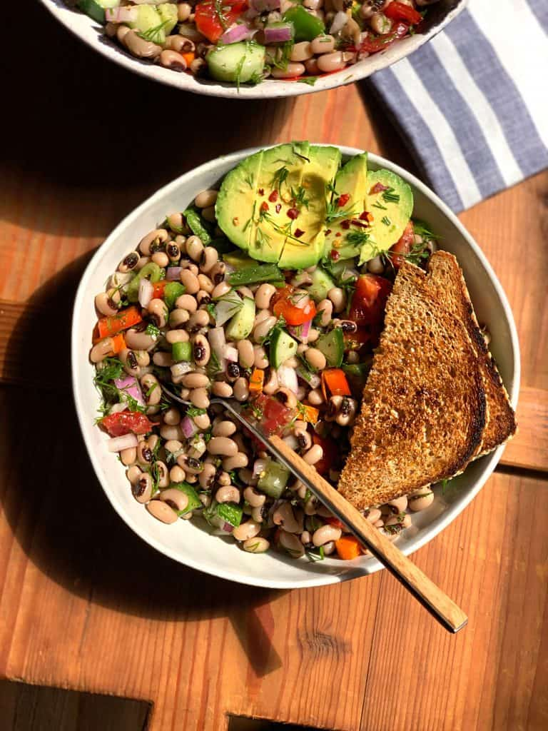 A black-eyed peas salad is fresh and fragrant and has a mediterranean vibe. With lots of veggies, herbs and a lemon olive oil dressing it tastes like summer in a bowl.