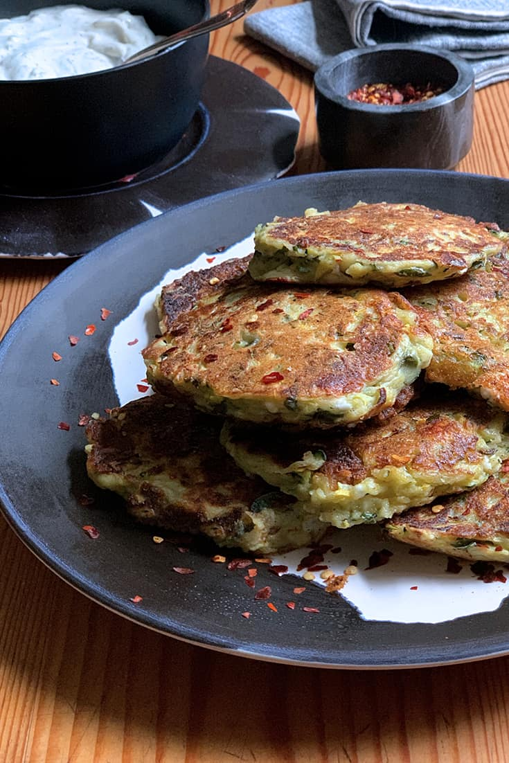 GREEK ZUCCHINI AND FETA FRITTERS