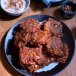 Tomato fritters with Greek feta and corn