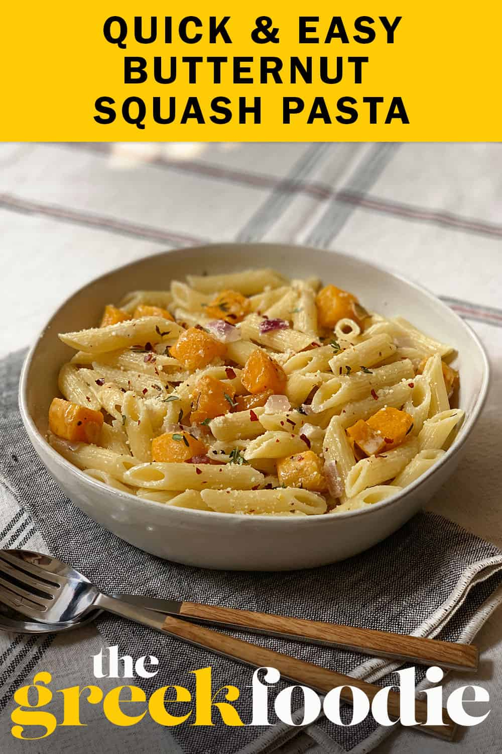 Lovely butternut squash penne pasta, with fragrant sage lots of parmesan cheese and extra virgin olive oil.