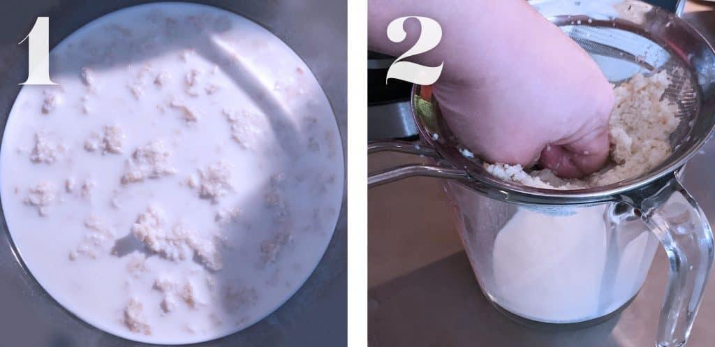 Soaking bread in milk and straining it to prepare Greek meatballs.