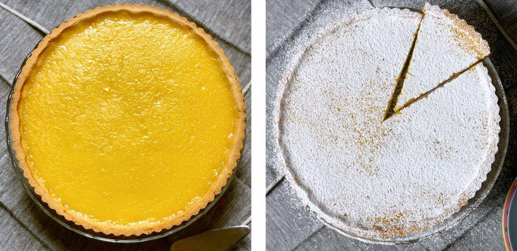 Left image. A lemon tart on a great table cloth. Right image A lemon tart sprinkled with icing sugar and a single piece cut out on a great tablecloth.