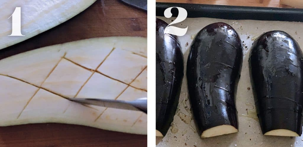 Image 1. Making cuts on eggplant flesh. Image 2. Eggplants on parchment paper.