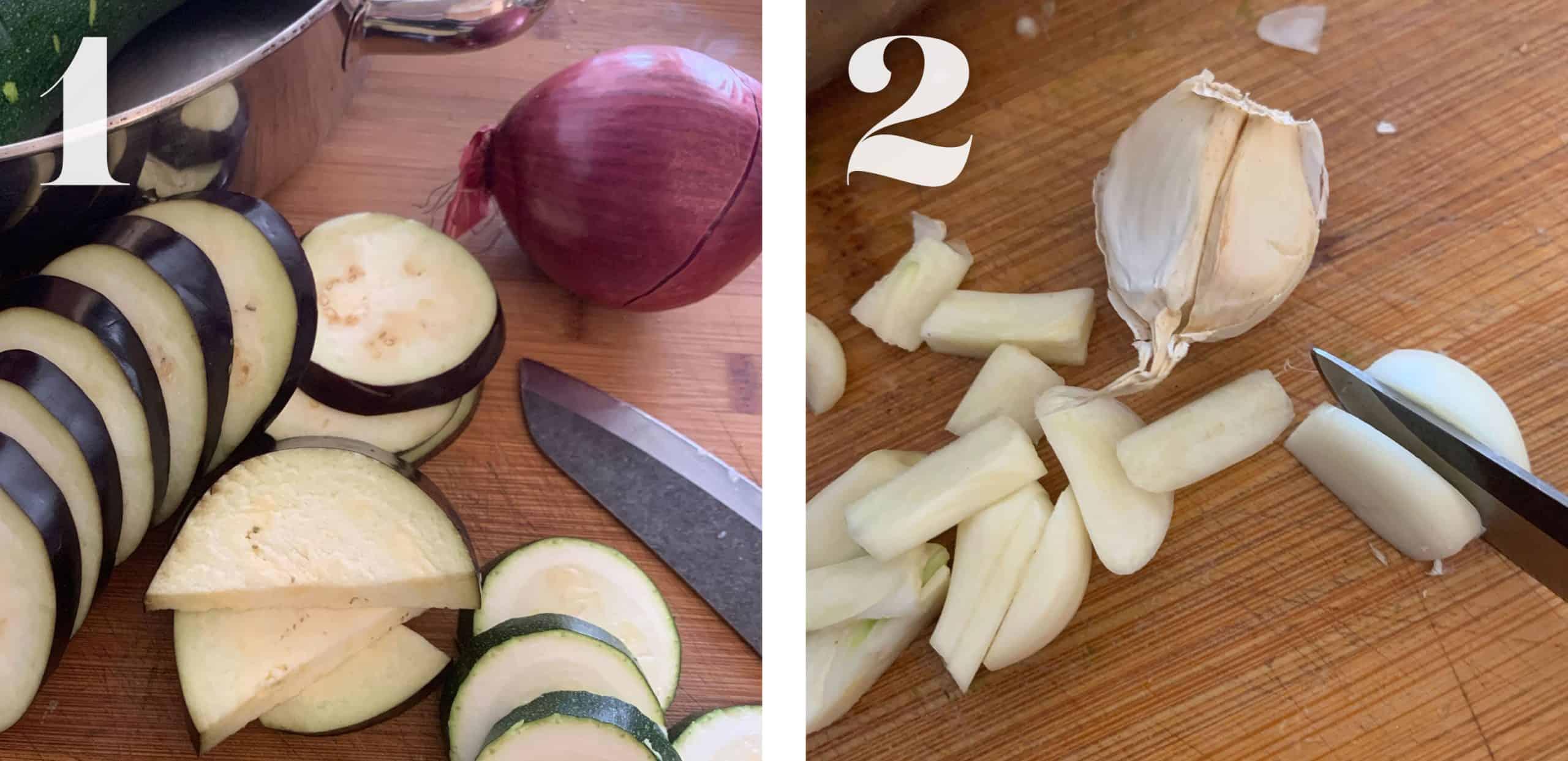 Cutting veggies for Greek Ratatouille - Briam.