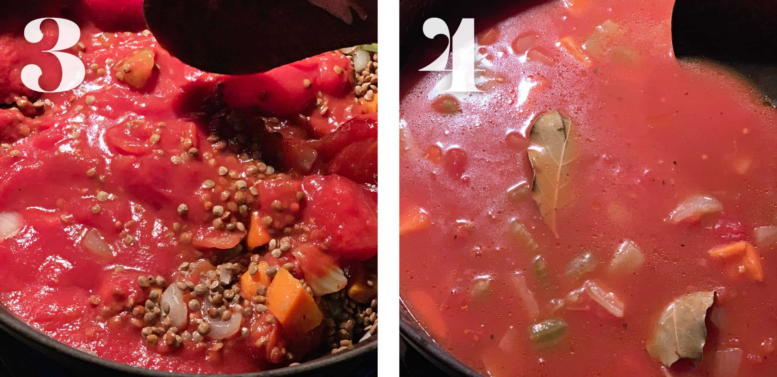 Left tomatoes and lentils in a pot. Tomato stock and a bay leaf.