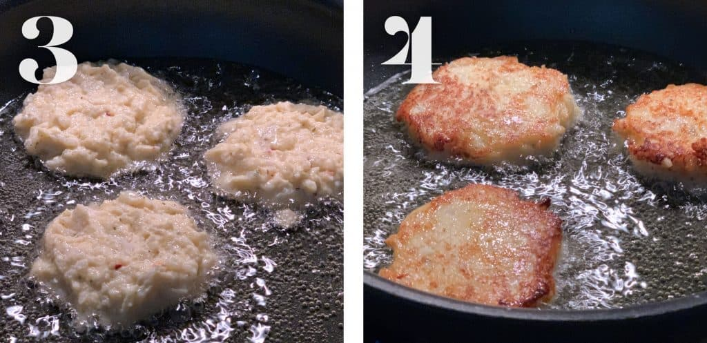 Cauliflower fritters in a frying pan cooking.