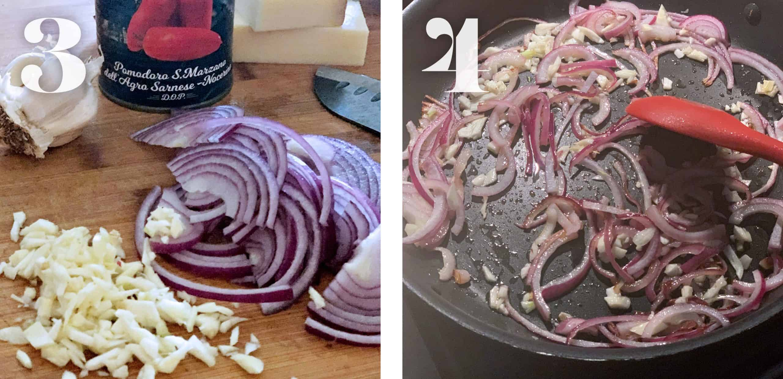 Image 3. Slicing onions and garlic. Image 4. Sliced onions and garlic in a pan sautéing.