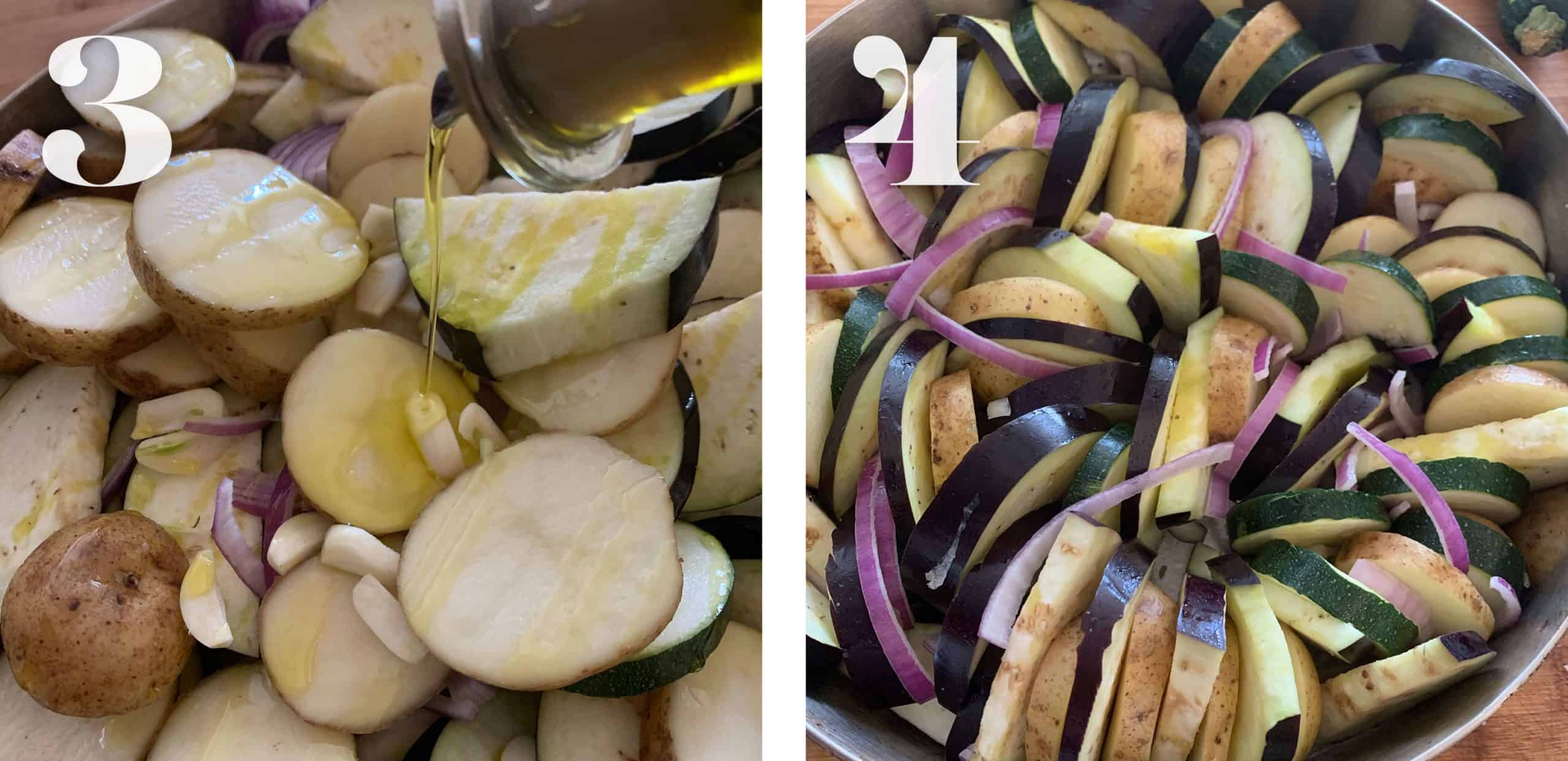 Adding olive oil and stacking veggies for Greek Ratatouille - Briam.