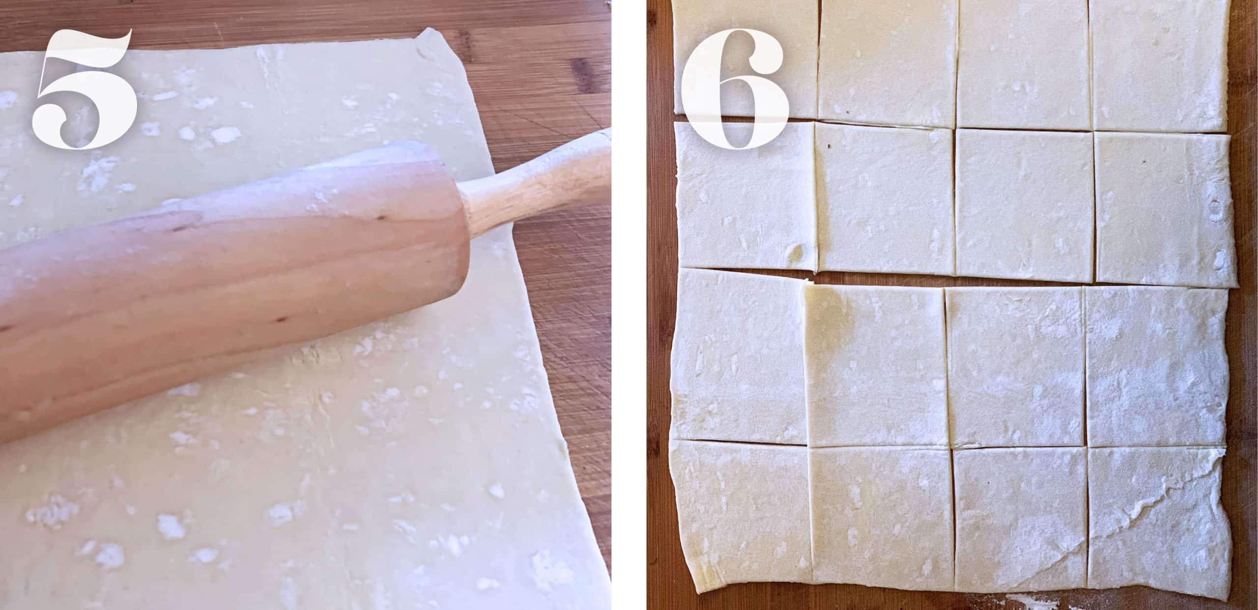 Preparing the puff pastry dough for cheese puff pastries.