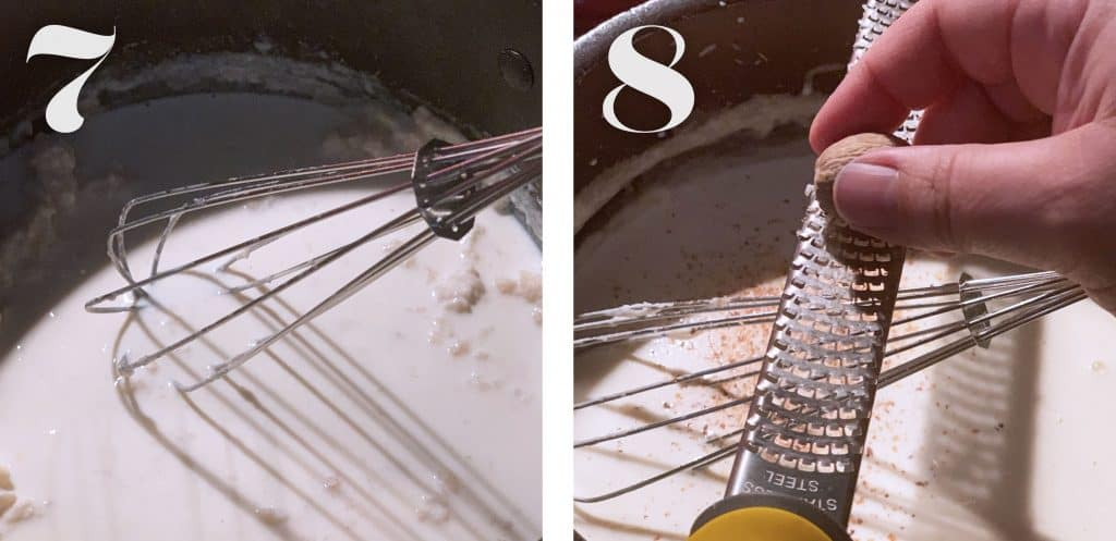 Image 7. Stirring milk while baking béchamel sauce.  Image 8.Adding nutmeg in bechamel sauce.