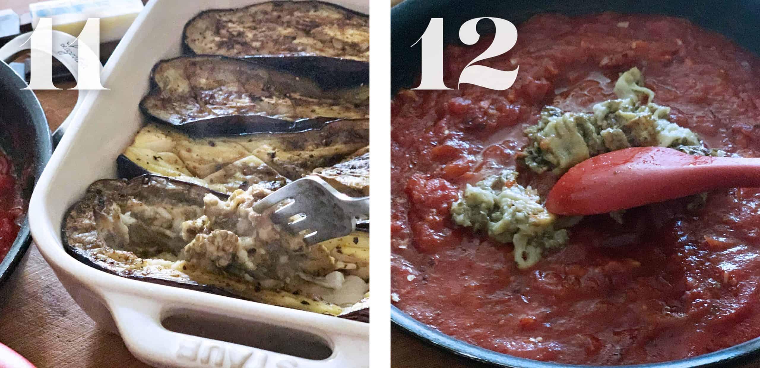 Image 11.Taking cooked eggplant flesh with a fork.  Image 12. Adding eggplant flesh to tomato sauce.