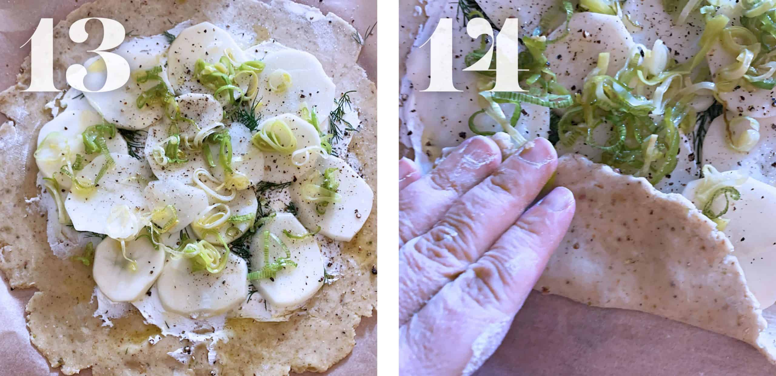 Filling up a galette crust with cheese potatoes leeks and dill. Folding the galette dough.
