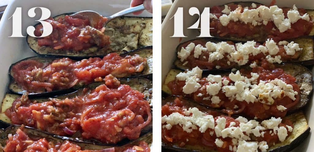Image 13. Filling eggplants with tomato sauce.  Image 14. Topping eggplants with feta cheese.