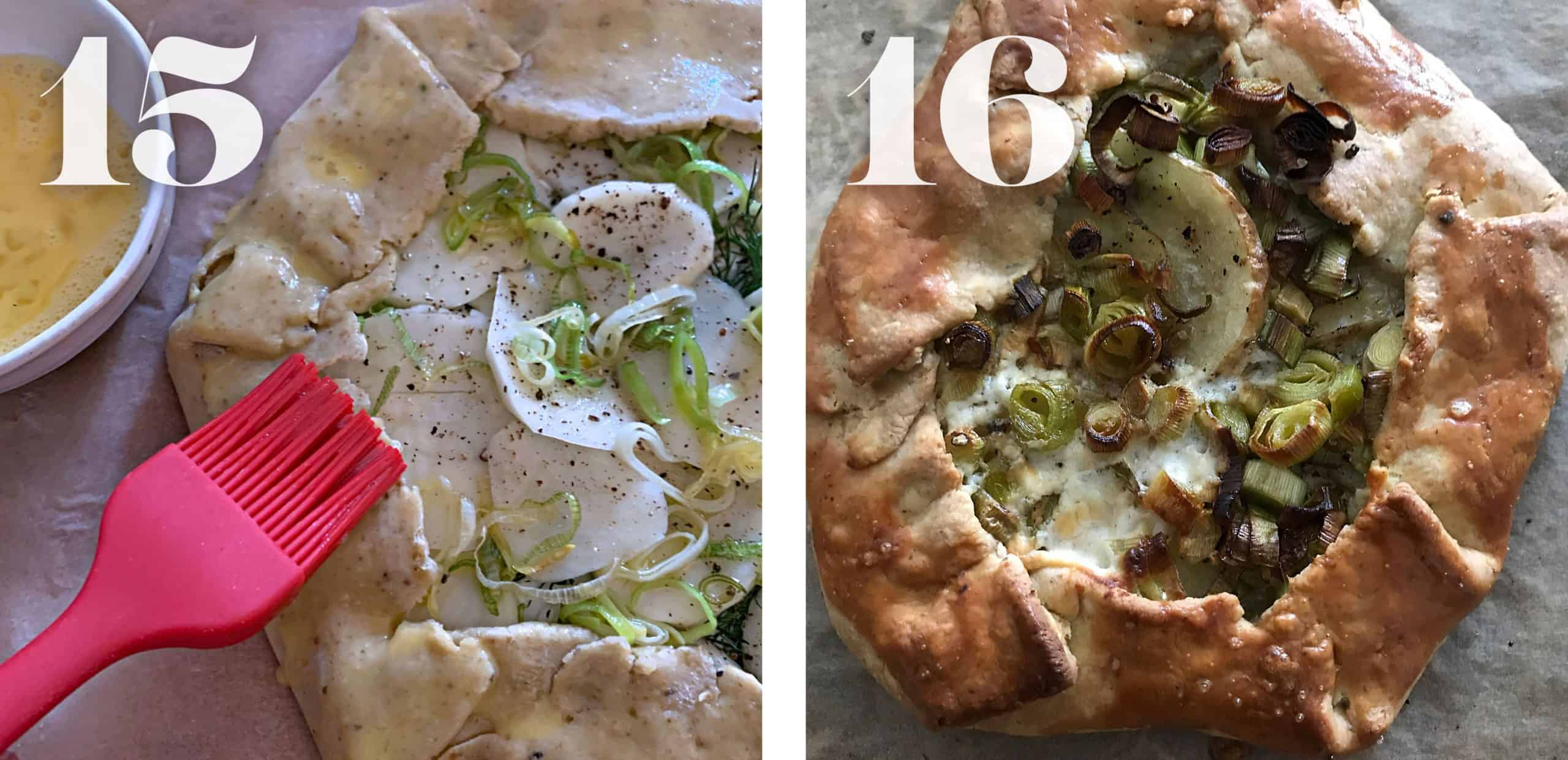 Brusing egg wash on galette dough. Cooked leek and potato galette.