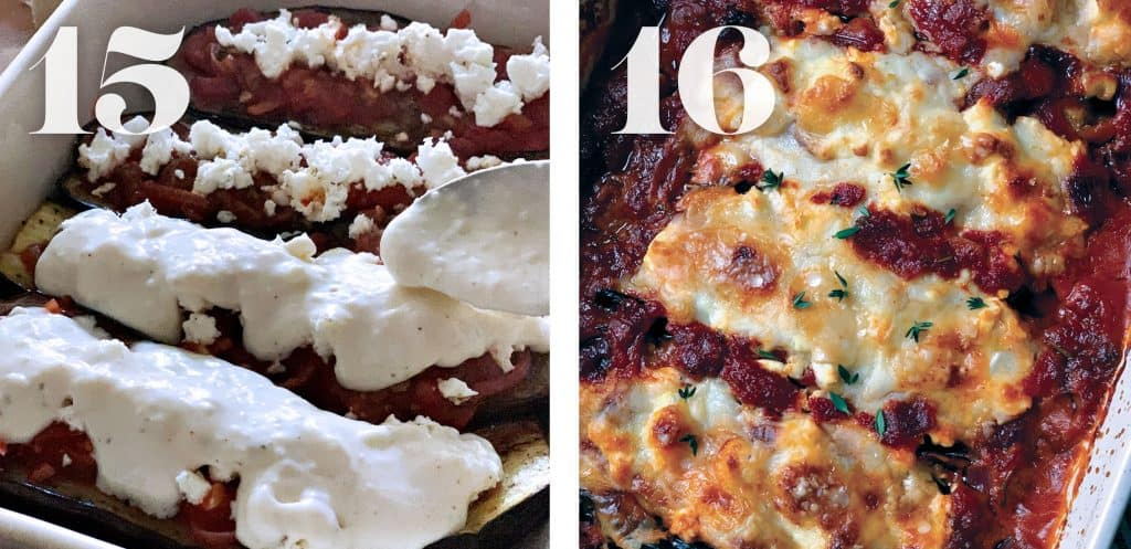 Image 15. Topping eggplants with bechamel sauce.  Image 16. Baked Greek papoutsakia-vegetarian stuffed eggplants.