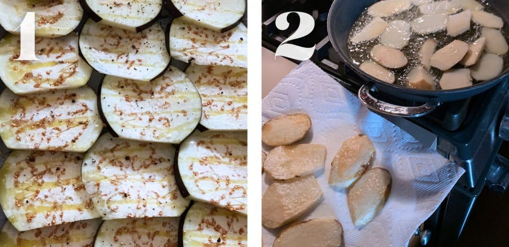 Image 1. Eggplant slices seasoned with salt and pepper and olive oil. Image 2. A frying pan with potato slices being fried and already fried potatoes on a paper towel.