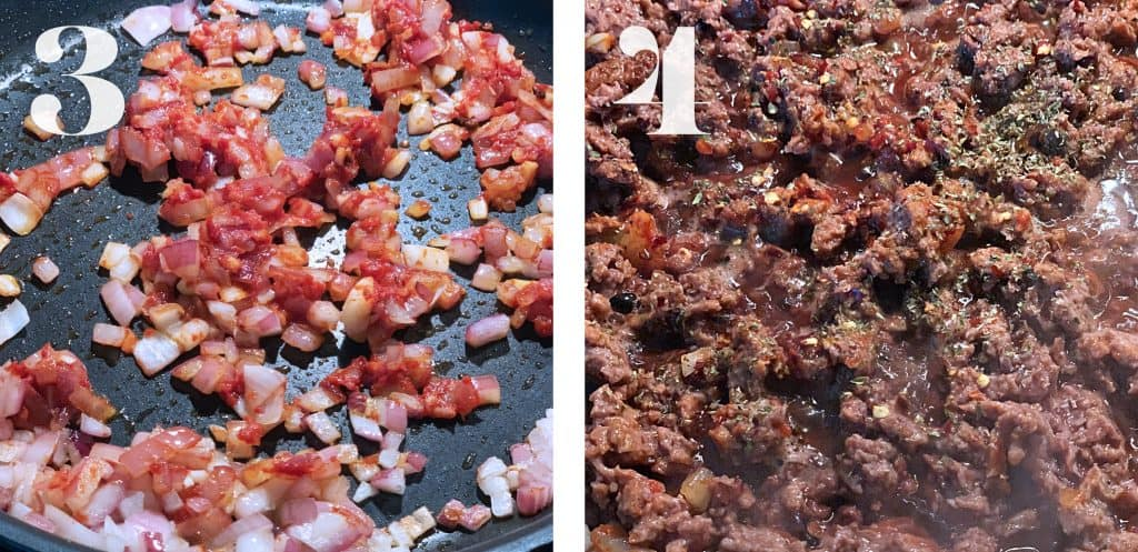 Image 3. Diced onions and garlic with tomato paste sautéing on a pan. Image 4. Plant based meat with diced onions and garlic and tomato paste sautéing on a pan.