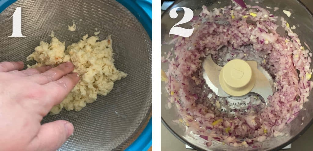 Image 1, bread soaked in milk in a colander. Image 2. Processed onion and garlic in a food processor.