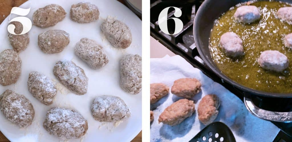 Image 5.Formed raw meatballs on a white plate. Image 6. Meatballs frying in a pan, on the counter a paper towel covered plate with cooked meatballs.