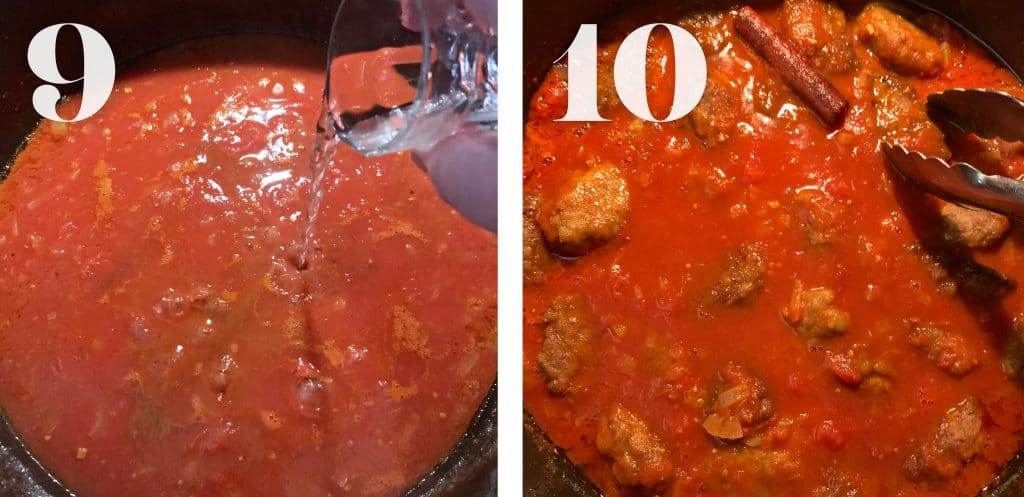 Image 9. A hand adds a shot of greek ouzo in tomato sauce. Image 10. Cumin meatballs simmering in tomato sauce.