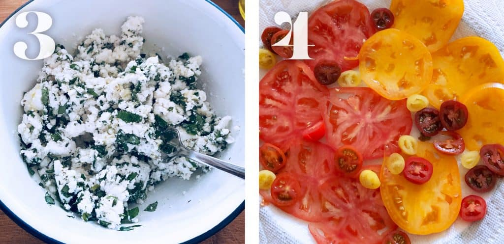 Image 3. Feta cheese mixed with herbs in a bowl. Image 4. Sliced tomatoes on paper towels.