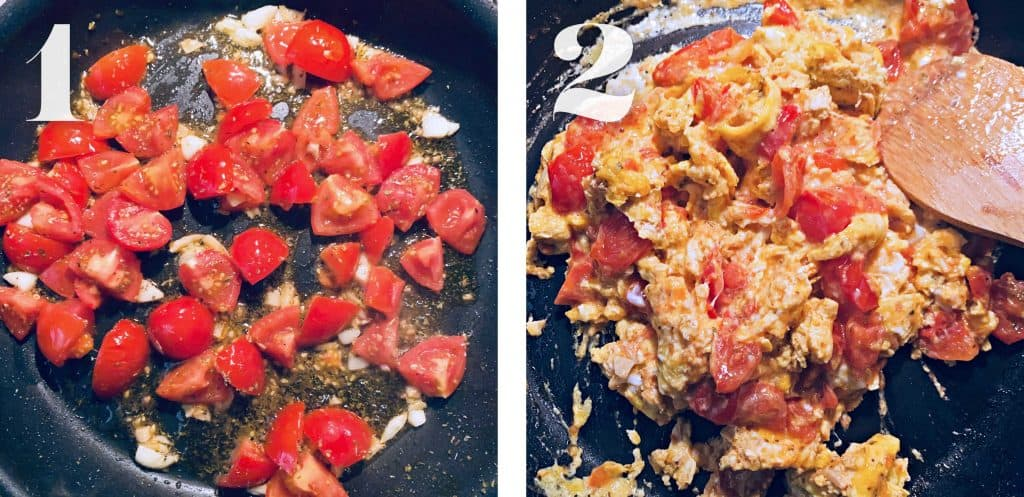 Image 1. A frying pan cooking cut up tomatoes and diced garlic. Image 2. A frying pan with eggs being mixed with tomatoes.