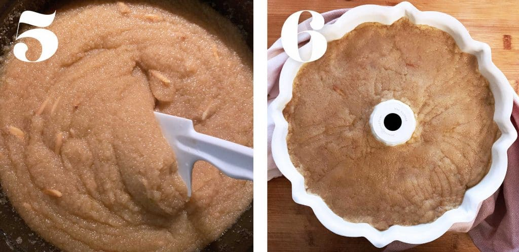 Process shots. Greek semolina cake mix in a pot and a bundt pan.
