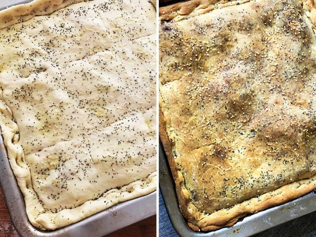 Left a boureki pie ready for the oven. Right, the pie fully baked.
