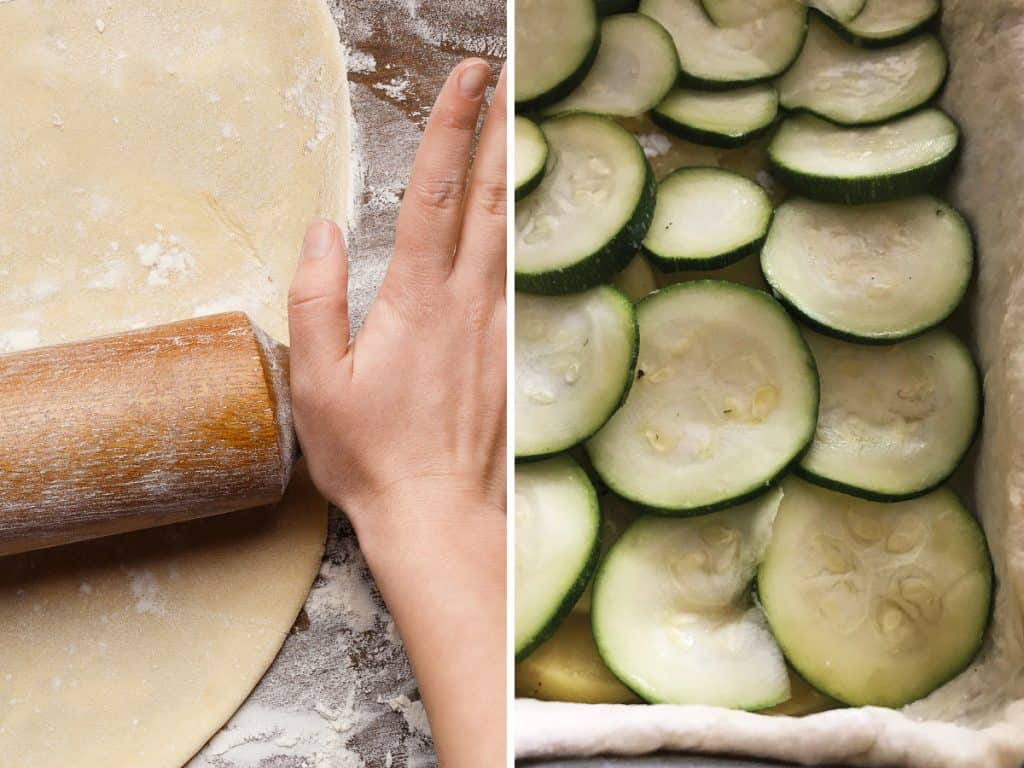 Left, rolling dough for boureki. Right, layering sliced zucchini for pie filling.