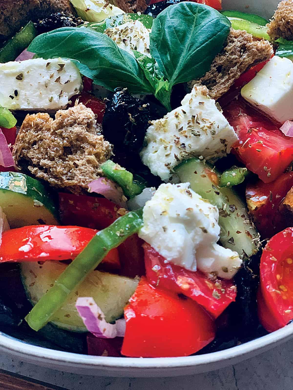 A close up of a Greek salad.
