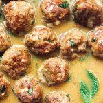 Close up of Low carb turkey meatballs and gravy.