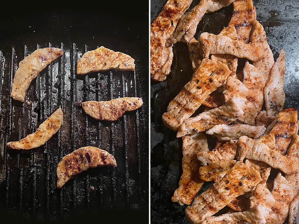 Pork loin strips grilling