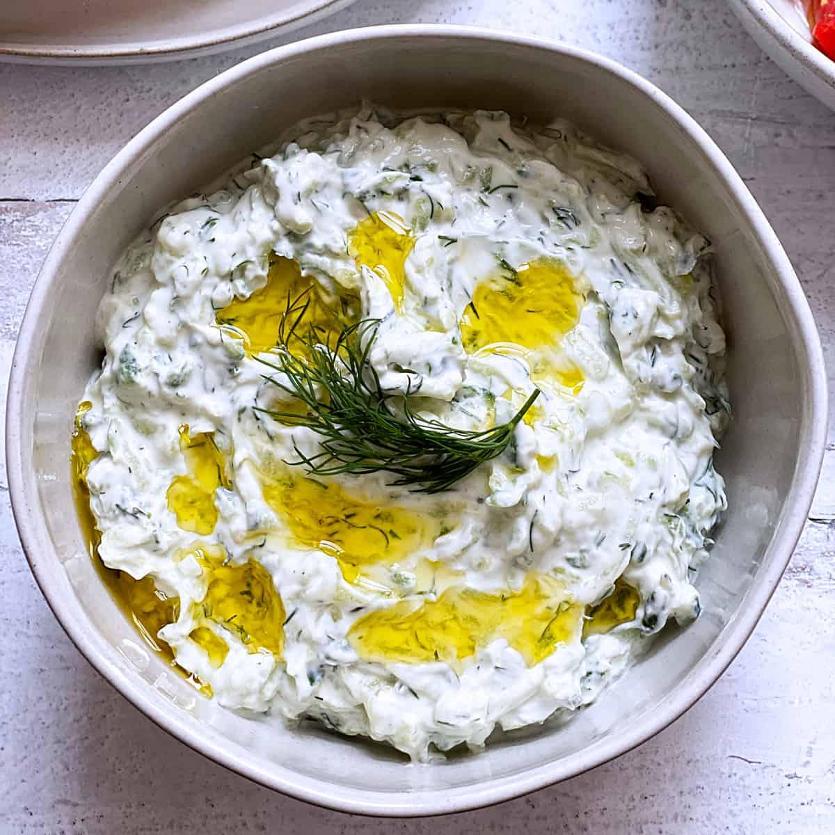 A bowl with tzatziki sauce.