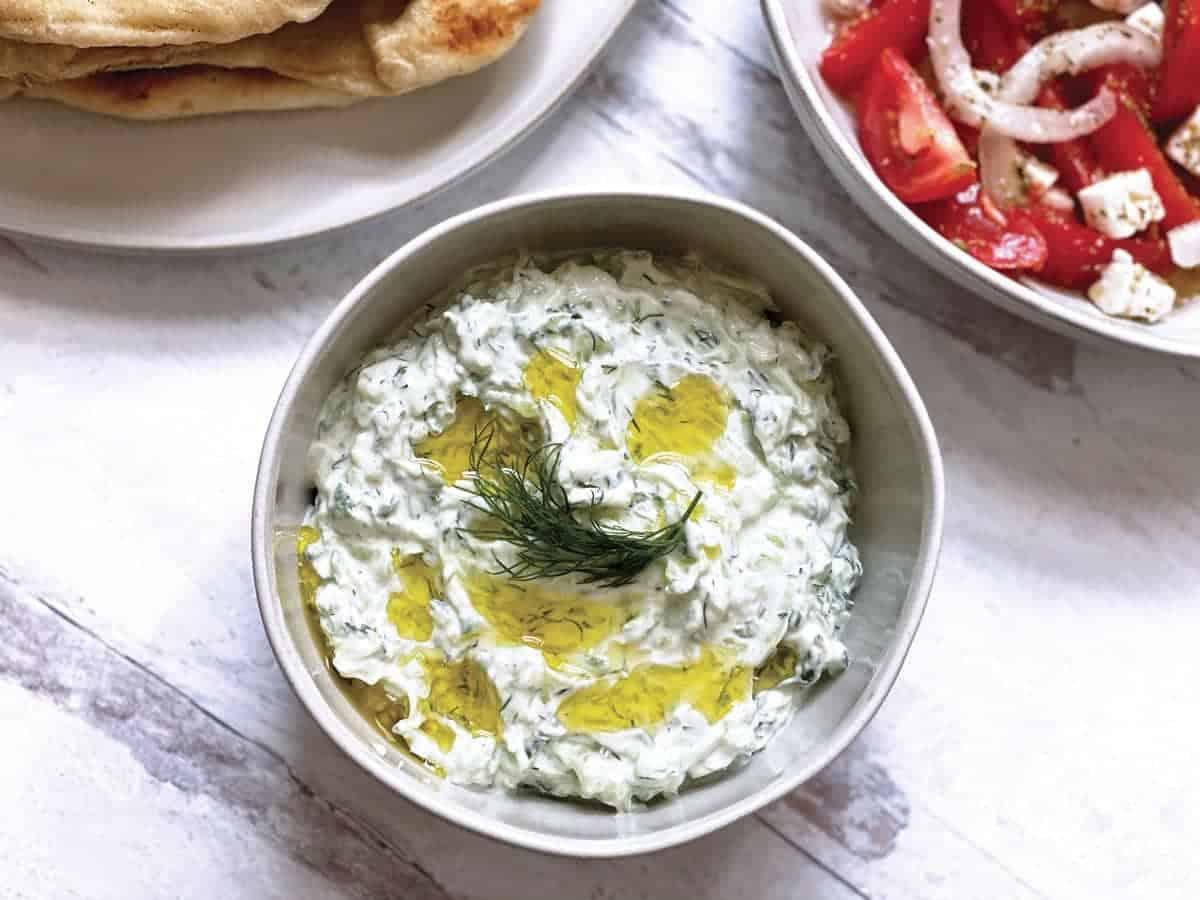 A bowl with greek tzatziki sauce.