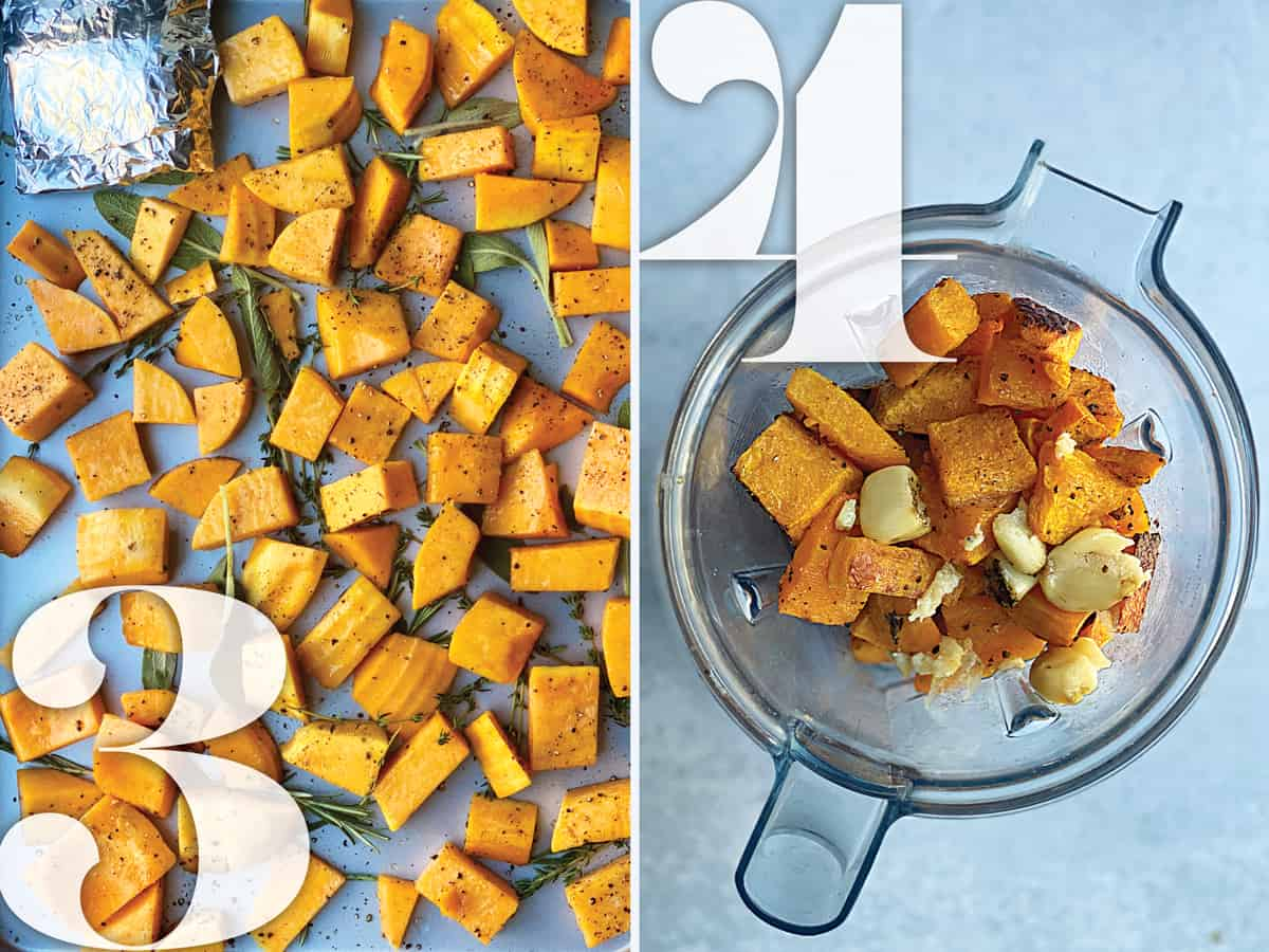Left image: Butternut squash cubes on a baking sheet with herbs. Right image: Butternut squash cubes and garlic in a blender.