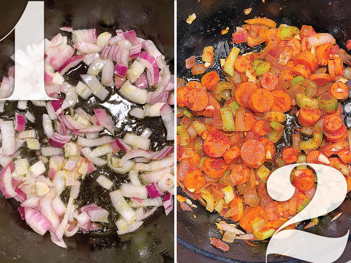 Left image: Onions and garlic sautéing. IRight image: Carrots celery and onions in a pot cooking.