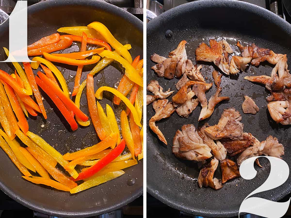 Left, bell pepper slices in a skillet. Right, mushroom pieces in a skillet.