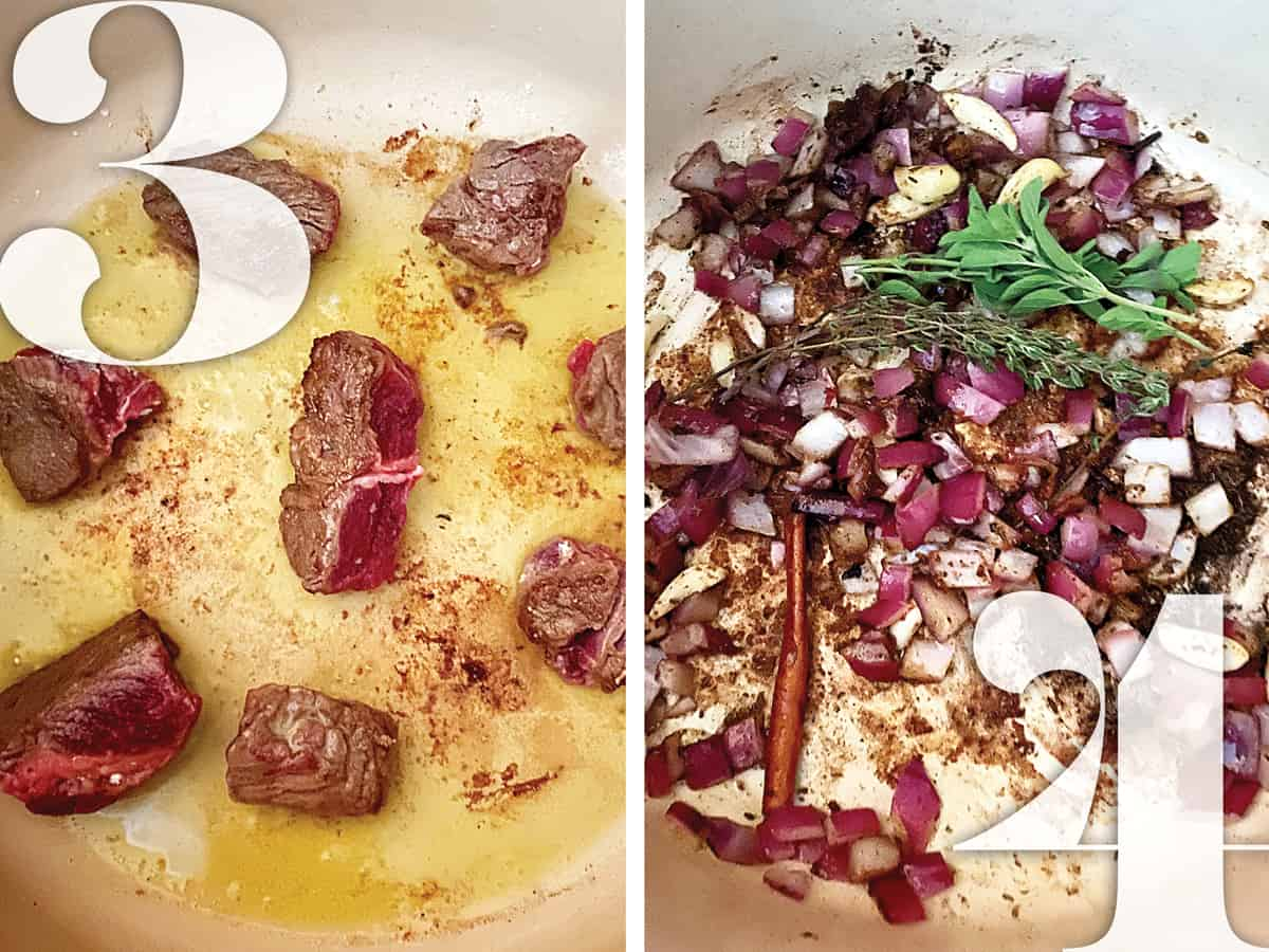 Image 1. Pieces of stew meat being browned in a pot. Image 2. Diced onions and aromatics sautéing in a pot.