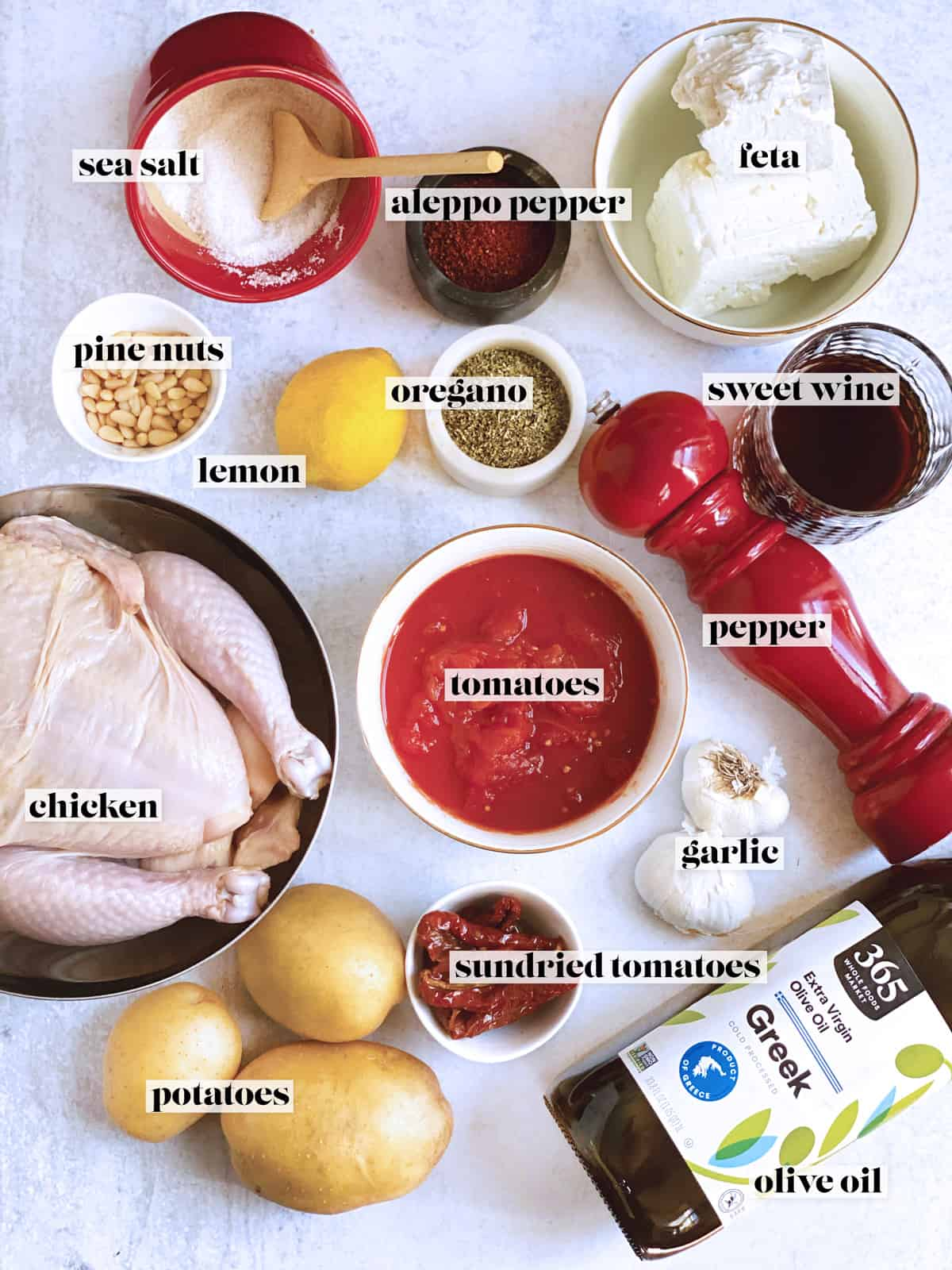 Ingredients image for stuffed chicken with tomatoes and feta.