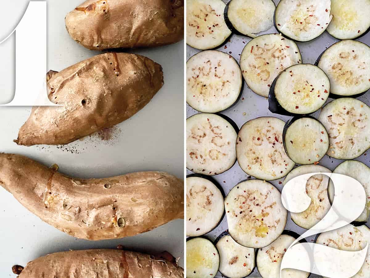 Left image. Baked sweet potatoes on a baking sheet. Right image: Eggplant slices on a baking sheet.