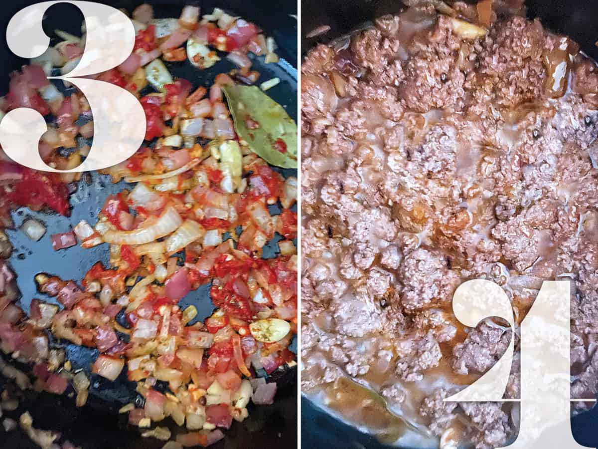 Left image. Onion, garlic, tomato paste sautéing. Right image: Ground beef cooking.