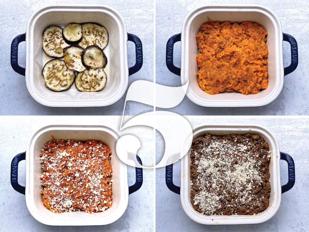 Layers of ingredients being assembled for sweet potato moussaka.